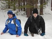 Pyhä Tunturi - Rado a Noro po pás v snehu